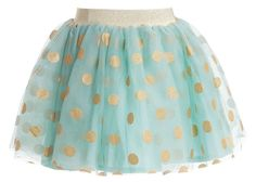 Billieblush girls pretty pastel green tutu skirt. Made from tulle with a cotton lining, it is decorated with gold polka dots and has a glittery, gold elasticated waist. Just for fun, a sparkly cat mask is included which is perfect for little girls who like to play dress up.found on My Child World