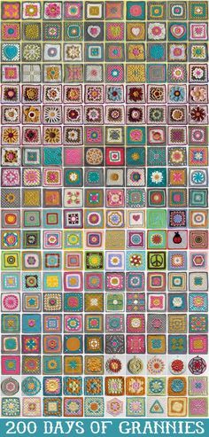 Crochet Square Patterns just in case you don't have enough to do on your to-do list.here are 200 days of granny squares! Point Granny Au Crochet, Grannies Crochet, Crochet Motifs, Granny Square Crochet Pattern, Crochet Blocks, Crochet Squares, Knit Or Crochet, Learn To Crochet, Crochet Afghans