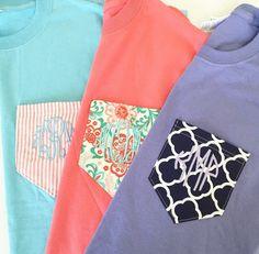 Monogrammed Pattern Pocket Short Sleeve T-shirt