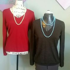 2 Sweaters red and brown Identical sweaters bundled together. Perfect staples to any business wardrobe and perfect with jeans Red is a true red and the brown is chocolate with a light striping (see photo 4) Ann Taylor Sweaters V-Necks