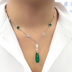 Christie's Exceptional clarity displayed in this #emerald drop of 15.20 cts with no clarity enhancement! Come see this pendant necklace and many more pieces at our Elements of Style private sales exhibition from 6-9 September at our gallery! #ChristiesPrivateSales #ChristiesJewels