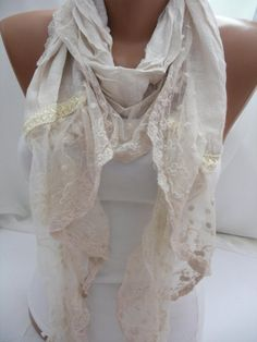 Women Cream Cotton Scarf  Headband  Cowl with Lace Edge  by DIDUCI, $19.00