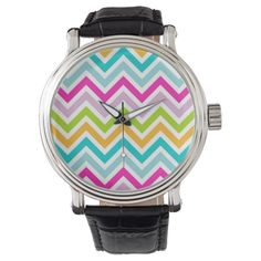Bright #Colorful #Chevron #Stripes #Pattern #zigzag #watch
