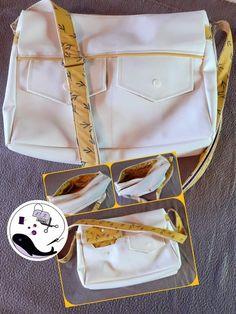Besace Zip-Zip en simili blanc et passepoil jaune cousue par Noëlla - Patron Sacôtin