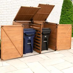 Leisure Season x x Large Horizontal Trash and Recycling Storage Shed, Browns / Tans Recycling Bin Storage, Trash And Recycling Bin, Recycling Containers, Trash Bins, Shed Storage, Storage Bins, Tool Storage, Plastic Recycling, Backyard Storage