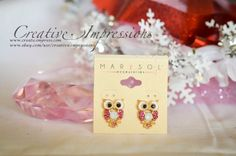 Multi Pink Rhinestone Owl Earrings