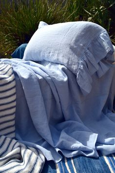 Pair of sky blue stonewashed linen by HouseOfBalticLinen on Etsy