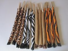 """Animal tails for kids games or party favors. You could have """"Tiger Tag""""... whoever is it wears the tiger tail & mask. A fun activity for while you get the cake & ice cream ready."""