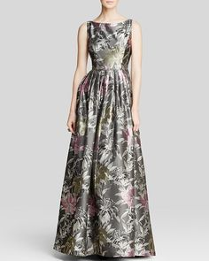 Adrianna Papell Gown - Sleeveless Floral Print Ball  $350.00$245.00