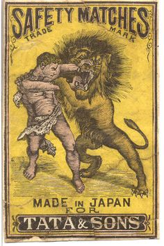 Vintage matchbox label made in Japan for be sold in India, featuring a man and a lion. Posters Vintage, Retro Poster, Vintage Labels, Vintage Ads, Vintage Graphic Design, Retro Design, Vintage Designs, Tata Sons, Matchbox Art