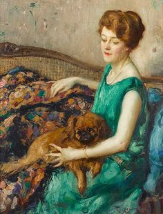Fernand Toussaint (Belgian artist, 1873-1955) Lady with a Dog