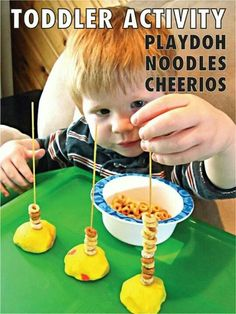 Toddler activity with play doh, spaghetti noodles and cheerios. Good for fine motor skills Toddler Learning Activities, Games For Toddlers, Motor Activities, Craft Activities For Kids, Infant Activities, Kids Learning, Crafts For Kids, Family Activities, Nursery Activities