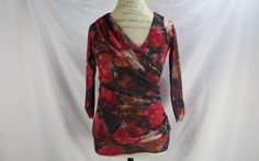 Anthropologie Blouse By Weston Wear Size S Abstract Floral Roses Elastic Casual #Anthropologie #Blouse #Casual