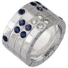 Cartier 18 Karat White Gold Lanieres Sapphire Diamond Ring