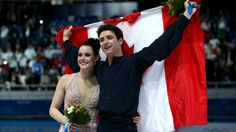 Silver medallists Tessa Virtue and Scott Moir of Canada celebrate during the flower ceremony for the figure skating ice dance on Day 10 of the Sochi 2014 Winter Olympics at Iceberg Skating Palace on February 2014 in Sochi, Russia. Virtue And Moir, Tessa Virtue Scott Moir, Olympic Sports, Olympic Games, Meryl Davis, Tessa And Scott, Olympic Champion, Ice Dance, Winter Games
