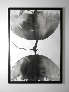 """A2 Original Fine Art Black and White Modern Abstract Ink and Wash Painting 16.5x24 """"Asteroid 325"""""""