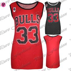49d99ce63934 Womens Ladies American Varsity Baggy Bulls 33 Basketball Jersey Vest T  Shirt Top