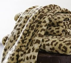 Leopard Jacquard 600-gram Weight Bath Towels #potterybarn hand towels for master bath