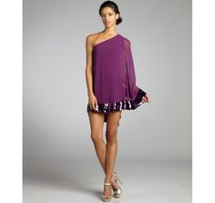 JB by Julie Brown plum chiffon pleated sequin trim Evan one shoulder dress | BLUEFLY up to 70% off designer brands