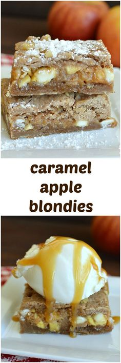 Caramel Apple Blondies - Caramel apples sandwiched between two layers of warm spiced blondies. Serve warm with vanilla ice cream for a perfect fall dessert!