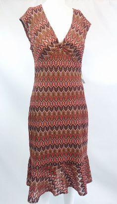 Donna Morgan Empire Waist Metallic Crochet Flounce Hem Knit Dress 10 | eBay
