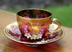 BOHEMIAN CRYSTAL CRANBERRY RED MINIATURE CUP & SAUCER WITH ETCHED FLORAL DESIGN