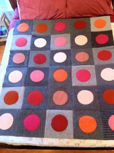 Upcycled Recycled Repurposed Felted Wool Sweater Blanket Quilt Throw Gray with Pink, Orange, Red Circles, home decor