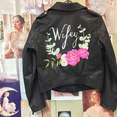 Hand-painted Coral Charm Pink Peony and Eucalyptus Wifey Faux Leather jacket - Jacket Included! Painted Leather Jacket, Faux Leather Jackets, Black Leather, Party Jackets, Embroidered Denim Jacket, Wedding Jacket, Pink Peonies, Peony, Wedding Dress Trends