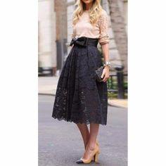 Lovely Lace Bow Ribbon Black Long Skirt