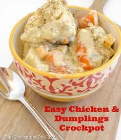My mom shares her easy chicken and dumplings crockpot recipe. Her tip on how to cook dumplings in the crockpot ensuring they are fully cooked. Four Generations One Roof recipes slow cooker recipes How To Cook Dumplings, Crockpot Chicken And Dumplings, Crockpot Dishes, Crock Pot Slow Cooker, Crock Pot Cooking, Slow Cooker Recipes, Crockpot Recipes, Chicken Recipes, Cooking Recipes