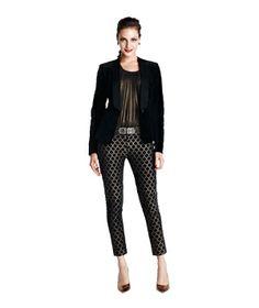 Party look: Velvet tuxedo jacket with brocade pants
