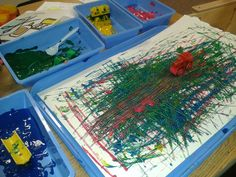 We did this the other day in my preschool classroom- painting with trains! The kids loved it and it turned out so cool.