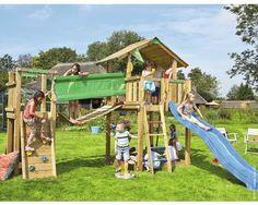 Spielturm, Jungle Gym Chalet & Bridge Modul inkl. Rutsche blau bei HORNBACH kaufen