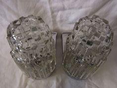 Pair Mid Century Hoffmeister Brutalist Glass Shades Vanity Sconces Wall Lamp # 2