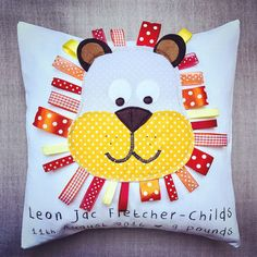 Personalised lion cushion/pillow for a christening / new baby