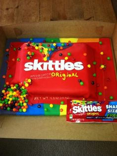 Skittles Cake - so need to get this for Mack's next bday! But with sour skittles of course :)