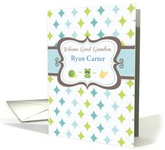 Welcome Baby Great Grandson Custom Personalized Name card (1203226)