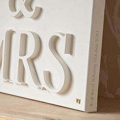 wooden letters on canvas, painted