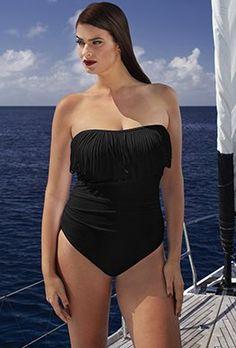 f4e48a30f5ae5 Tankini Sets - Black Fringe Bandeau Swimsuit Cute Swimsuits