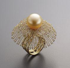 Ring  18k gold, rough diamond beads, gold pearl, diamond  Sowon joo