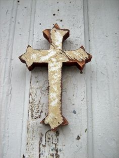 Wooden Wall Cross Beige and White Reclaimed Wood.
