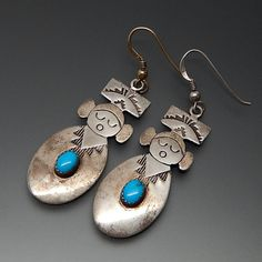 NATIVE AMERICAN NAVAJO TURQUOISE KACHINA STERLING SILVER HOOK EARRINGS #native-american-earrings #silver-earrings #vintage-silver-earrings