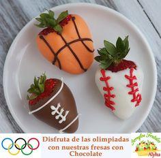 Fresas, strawberries.  Olimpiadas, olimpics games.  www.arreglosfrutales.com.mx