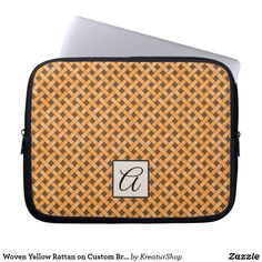 Woven Yellow Rattan on Custom Brown with Monogram Laptop Sleeve Neoprene Laptop Sleeve, Laptop Sleeves, Custom Laptop, Made Goods, Day Use, Rattan, Best Gifts, Gift Ideas