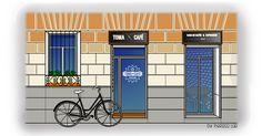 Facade, Madrid, Garage Doors, Watercolor, Store, Illustration, Outdoor Decor, Home Decor, Gourmet