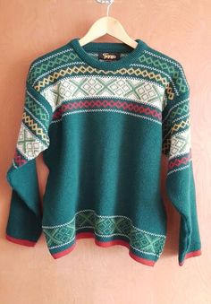 Vintage Figgjo Multicolored Nordic Pattern Wool Ski Sweater Made In Norway  #Figgjo #Crewneck