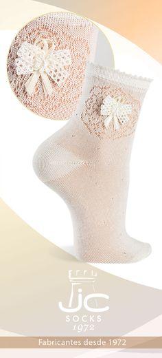 Calcetines Hilo perlé semicalados. Calcetines celebración niña JC CAstellà fabricantes desde 1972