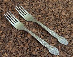 "Oneida Secretariat Forks 2 Salad Stainless Flatware Glossy Scroll Floral 7"" #Oneida"