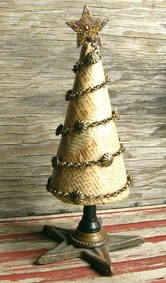 Vintage Style tree , could use burlap over a  foam cone ...to diy this one .