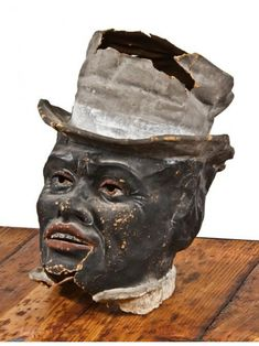 very unique and unusual antique american century hand-applied folk art polychrome enameled papier-mache mask of depicting an african american with top hat Sculpture Head, Paper Mache Sculpture, Paper Mache Mask, Halloween Lanterns, African American Men, Elements Of Art, Paper Clay, Yard Art, Vintage Halloween